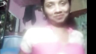 Indian Aunty Showing Large Boobs To Lover