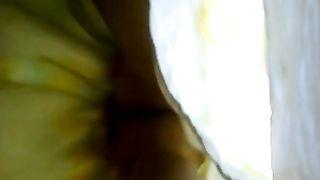 Yellow saree lady getting captured beneath her underskirt